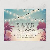 Palm Beach String Lights Wedding Save the Date Announcement Postcard