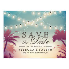 Palm Beach String Lights Wedding Save The Date Postcard at Zazzle