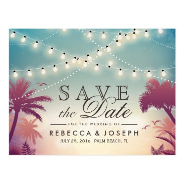Beach Themed Palm Beach String Lights Wedding Save the Date Postcard
