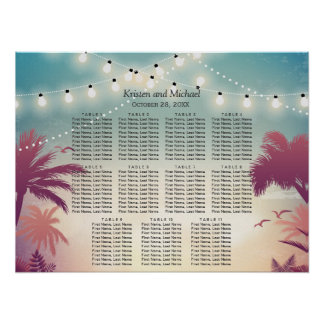 Palm Beach String Lights Wedding Seating Chart