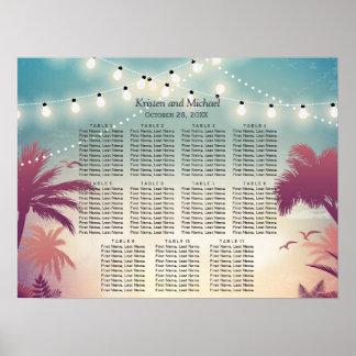 Palm Beach String Lights Wedding Seating Chart Poster