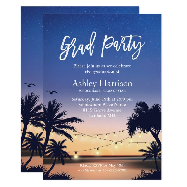 Palm Beach Sunset String Lights Graduation Party Card