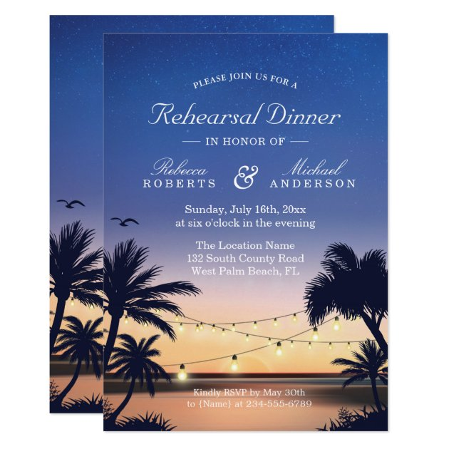 Palm Beach Sunset String Lights Rehearsal Dinner Card