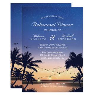 Palm Beach Sunset String Lights Rehearsal Dinner Invitation