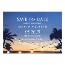Palm Beach Sunset String Lights Save the Date Card