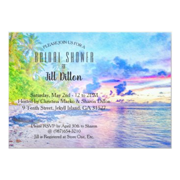 Beach Themed Palm Beach Sunset Watercolor Bridal Shower Card
