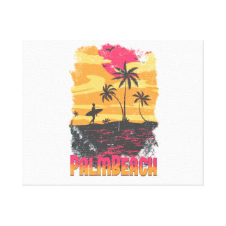 Palm Beach surfer palm trees pink orange faded Canvas Print