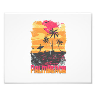 Palm Beach surfer palm trees pink orange faded Photo