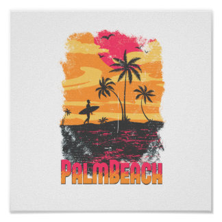 Palm Beach surfer palm trees pink orange faded Posters