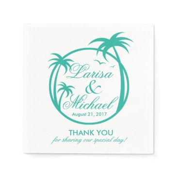 Beach Themed Palm Beach Tropical Logo | aqua white Paper Napkin