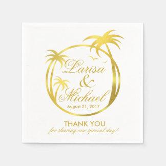 Palm Beach Tropical Logo | faux gold foil Napkin