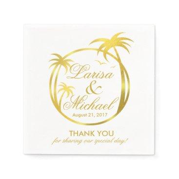 Beach Themed Palm Beach Tropical Logo | faux gold foil Napkin