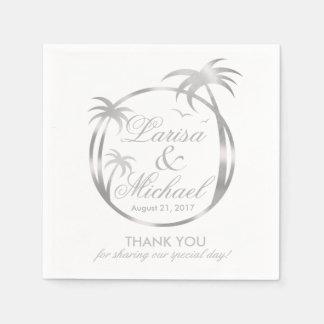 Palm Beach Tropical Logo | faux silver foil Paper Napkin