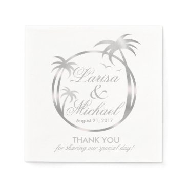 Beach Themed Palm Beach Tropical Logo | faux silver foil Paper Napkin