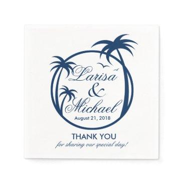 Beach Themed Palm Beach Tropical Logo | navy blue Paper Napkin