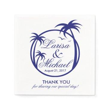 Beach Themed Palm Beach Tropical Logo | navy white Napkin