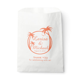 Palm Beach Tropical Logo   peach Favor Bag