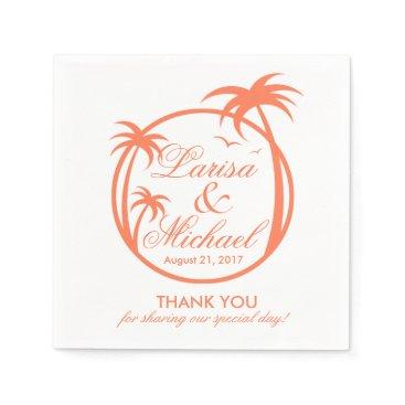 Beach Themed Palm Beach Tropical Logo   peach white Napkin