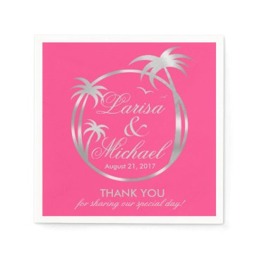 Beach Themed Palm Beach Tropical Logo | silver foil fuchsia Napkin