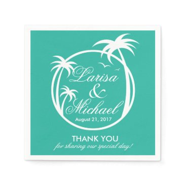 Beach Themed Palm Beach Tropical Logo | white aqua Paper Napkin