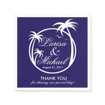 Beach Themed Palm Beach Tropical Logo | white navy Napkin