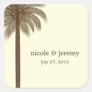Palm Beach Wedding Favor Sticker - Brown