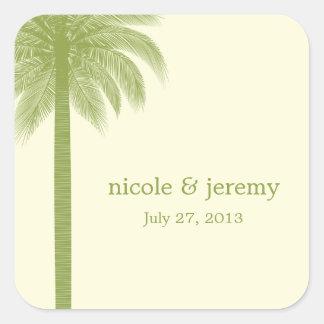 Palm Beach Wedding Favor Sticker - Green