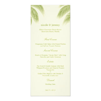 Palm Beach Wedding Menu Card - Green Personalized Invite