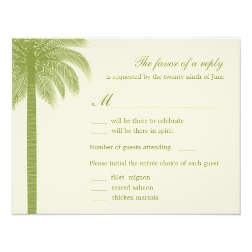 wedding rsvp response cards green personalized invitation zazzle