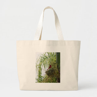 Palm Cardinal Large Tote Bag