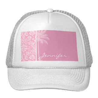 Palm; Carnation Pink Damask Pattern Trucker Hat