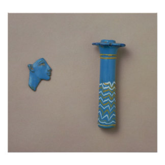 Palm column kohl flask and fragment of inlay poster