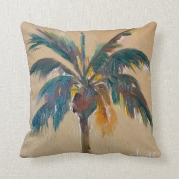 "Beach Themed Palm Cotton Throw Pillow, Throw Pillow 16"" x 16"""