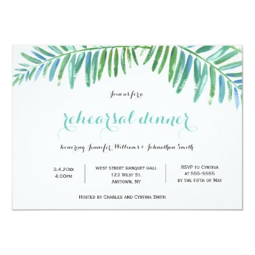 Beach Themed Palm destination rehearsal dinner invitations