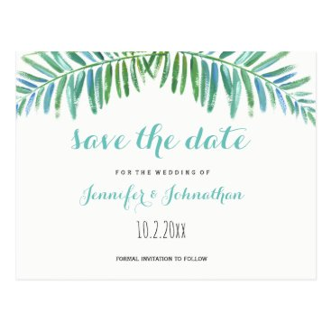 Palm destination wedding save the date cards