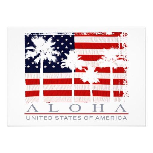 Palm Flag USA Aloha Party Invitations