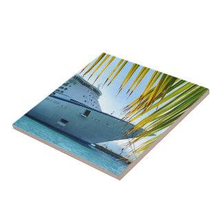 Palm Framed Bow Tile