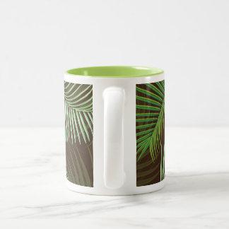 Palm Frond Design Two-Tone Coffee Mug