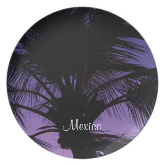 Palm Frond Silhouette; Mexico Souvenir Dinner Plate