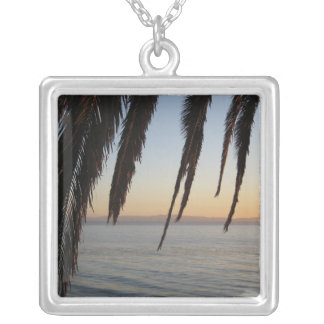 Palm Frond Window Square Pendant Necklace