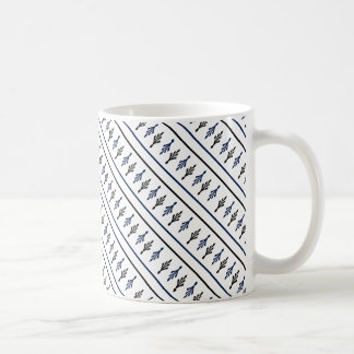Palm Fronds blue black diagonal coffee mugs