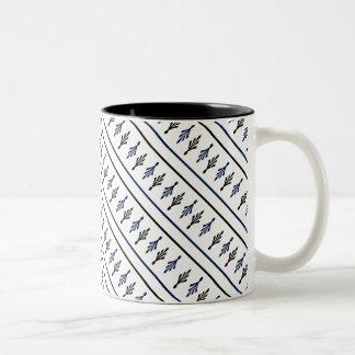 Palm Fronds blue black diagonal two tone mugs