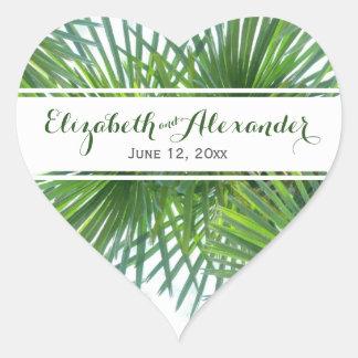 Palm Fronds Greenery Wedding Heart Sticker