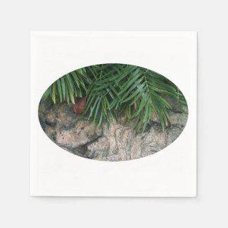 Palm fronds over rocks neat garden photo napkin