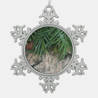 Palm fronds over rocks neat garden photo ornament