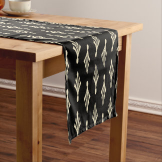 Palm Fronds Pattern Ecru Black Small Table Runner