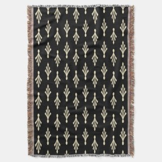 Palm Fronds Pattern ecru on black Throw