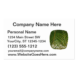 Palm Fronds with Palm Tree white text tropical Business Cards