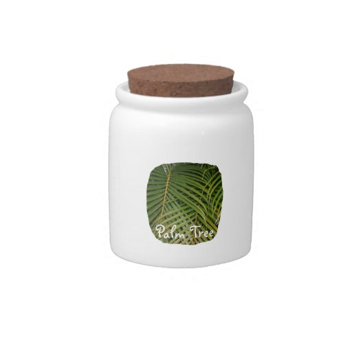 Palm Fronds with Palm Tree white text tropical Candy Dish