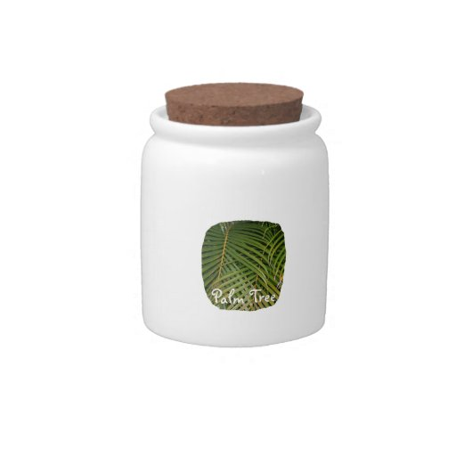 Palm Fronds with Palm Tree white text tropical Candy Jars